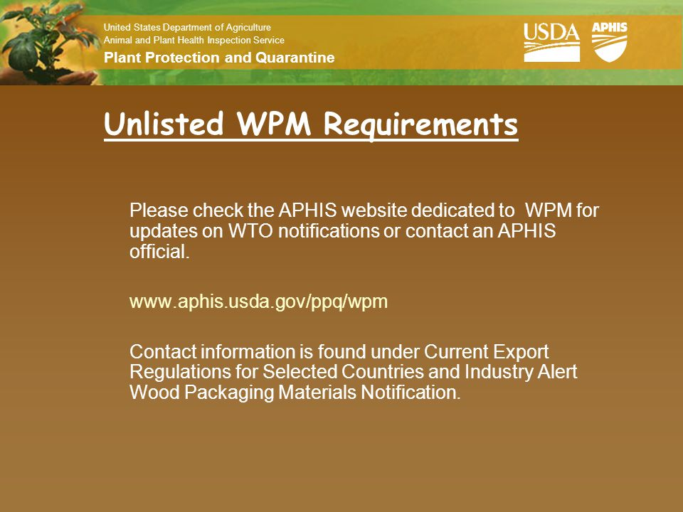 Unlisted WPM Requirements