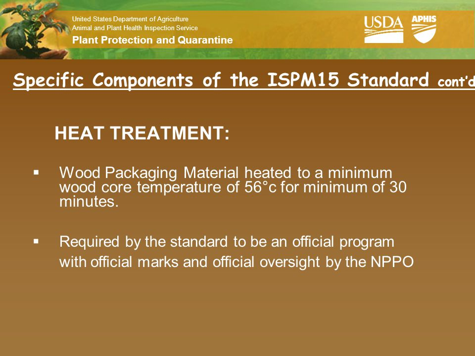 Specific Components of the ISPM15 Standard cont'd
