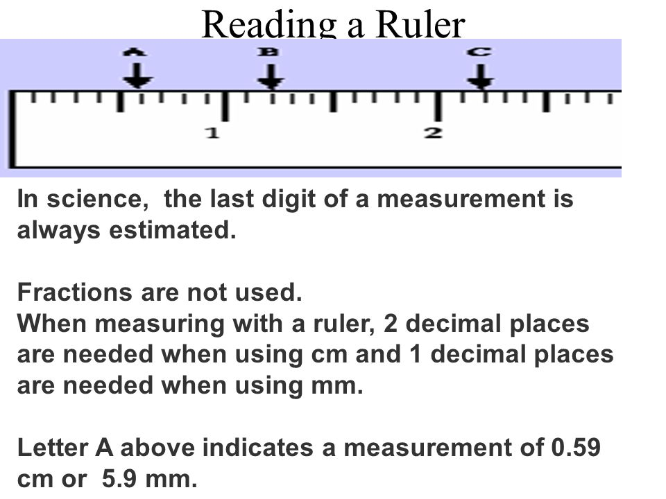 Reading a Ruler In science, the last digit of a measurement is always estimated. Fractions are not used.
