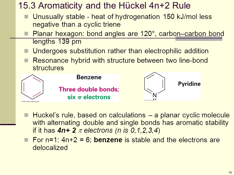 15.3 Aromaticity and the Hückel 4n+2 Rule