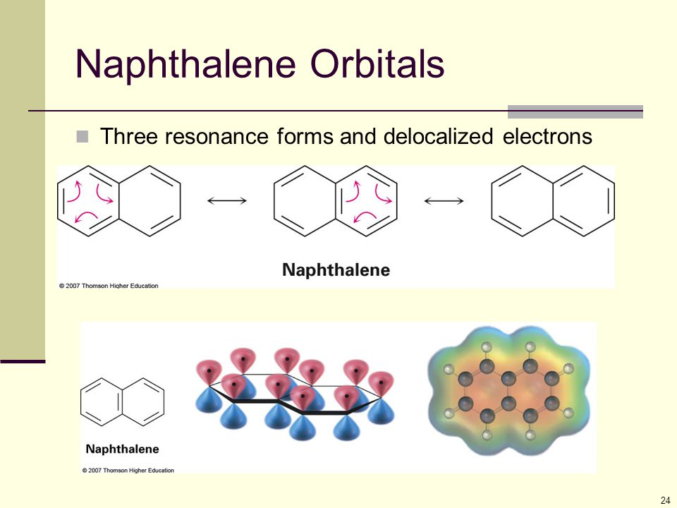 Naphthalene Orbitals Three resonance forms and delocalized electrons