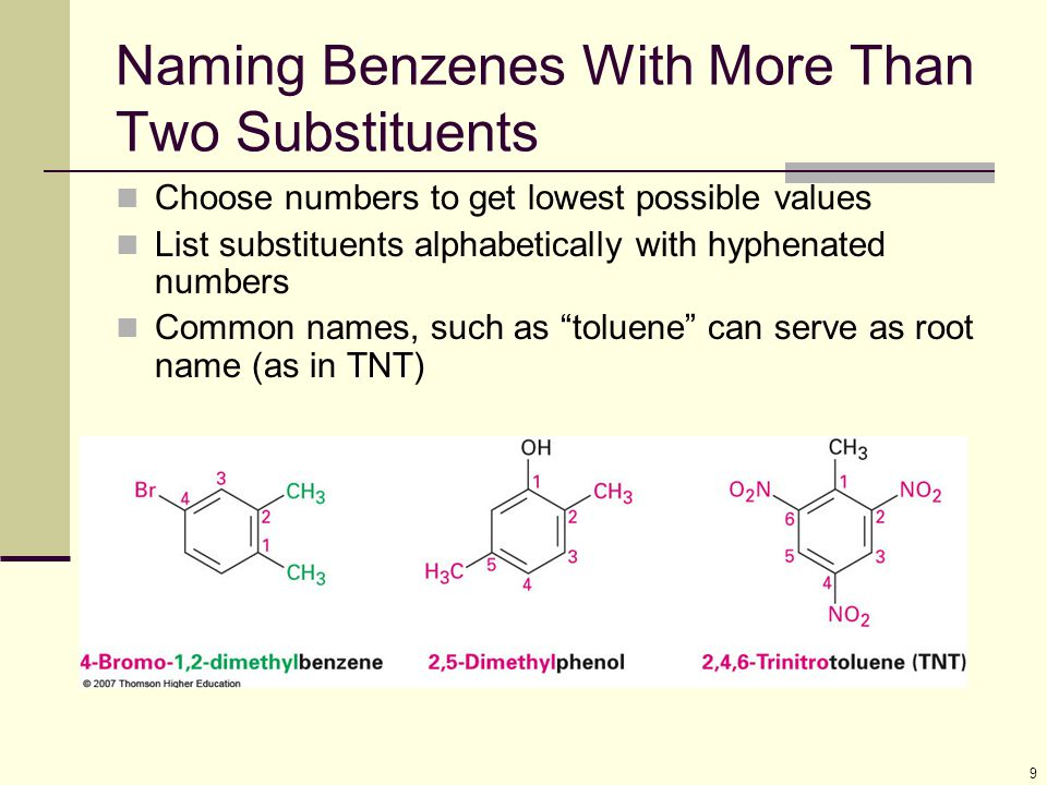 Naming Benzenes With More Than Two Substituents