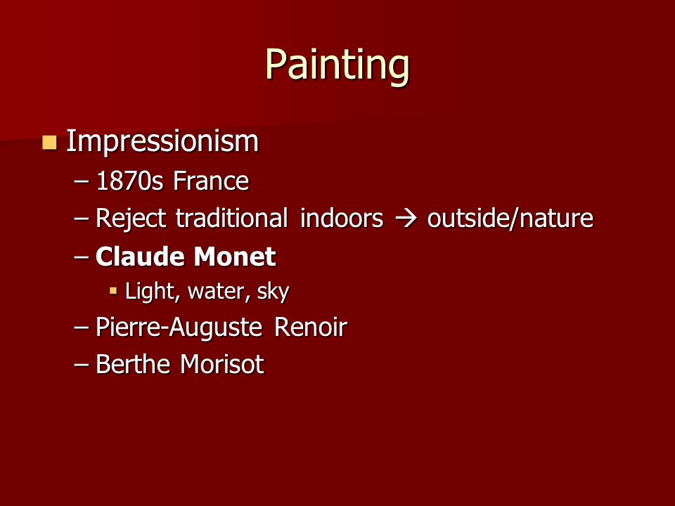 Painting Impressionism 1870s France