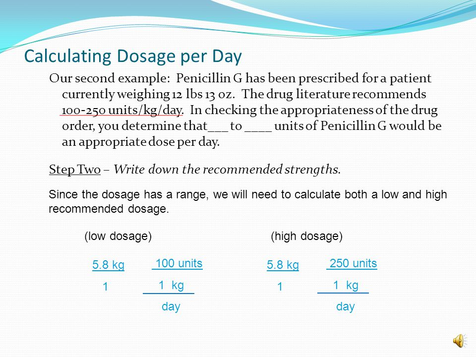 Calculating Dosage per Day