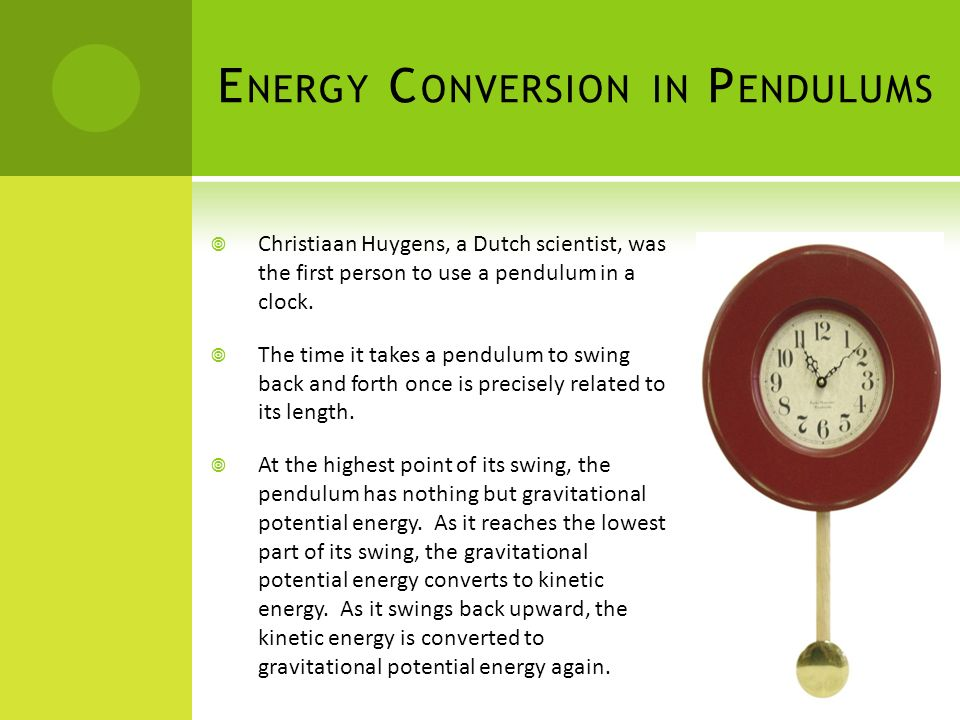 Energy Conversion in Pendulums