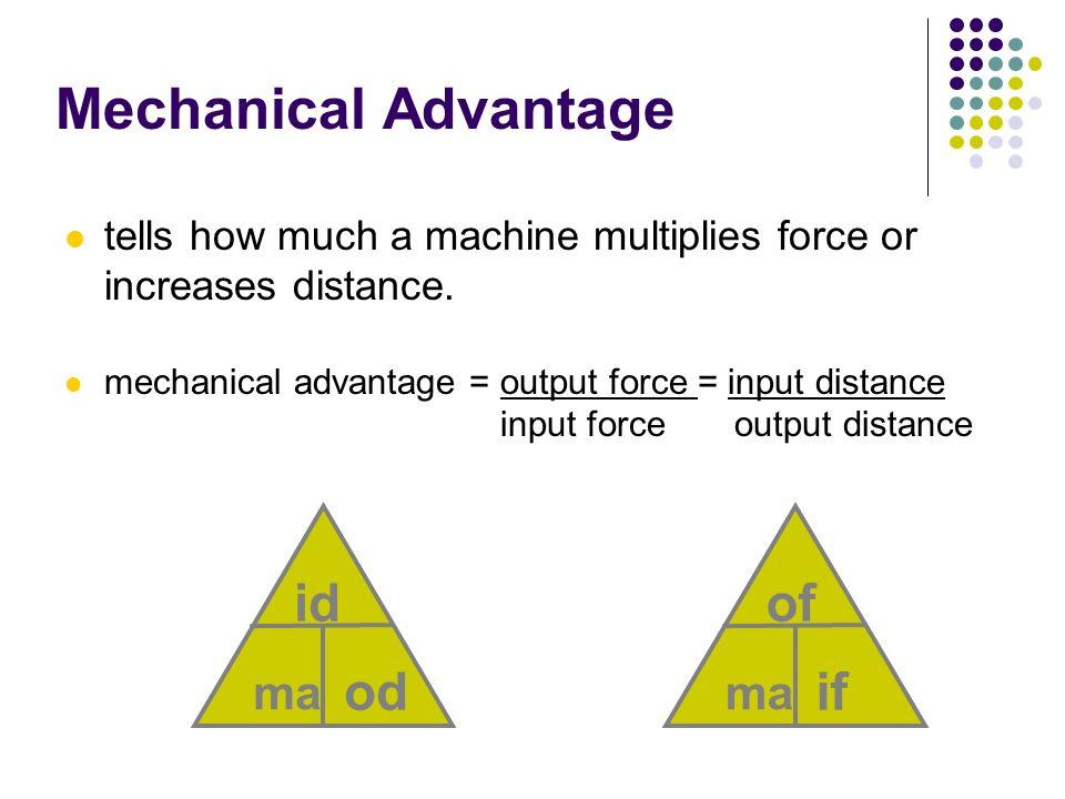 Mechanical Advantage id od of if ma ma