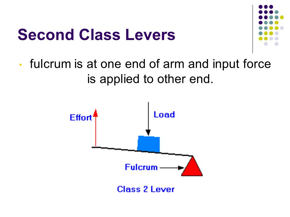 fulcrum is at one end of arm and input force is applied to other end.