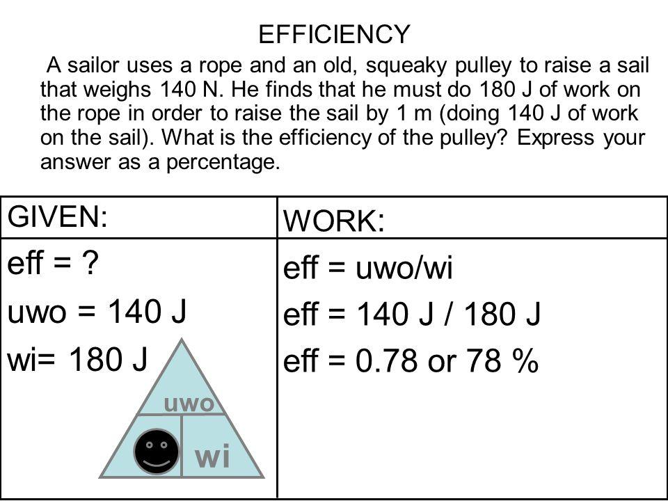 eff = uwo = 140 J wi= 180 J wi eff = uwo/wi eff = 140 J / 180 J