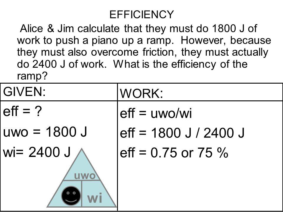 eff = uwo = 1800 J wi= 2400 J wi eff = uwo/wi eff = 1800 J / 2400 J