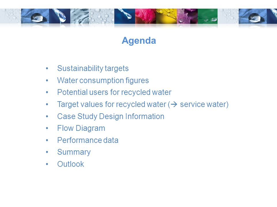 Agenda Sustainability targets Water consumption figures