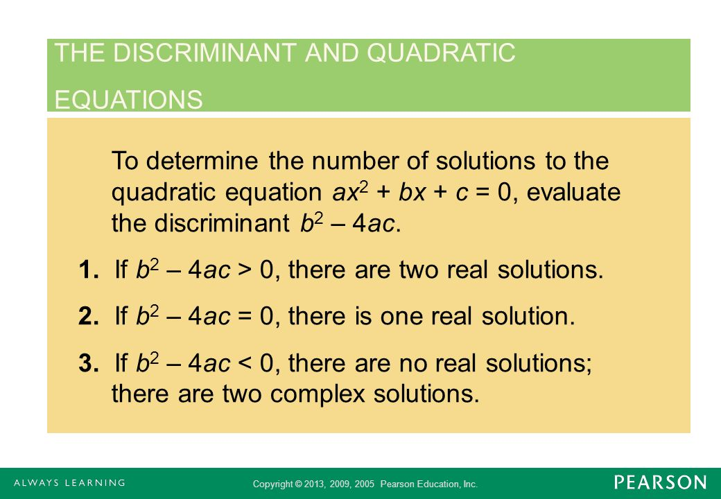THE DISCRIMINANT AND QUADRATIC
