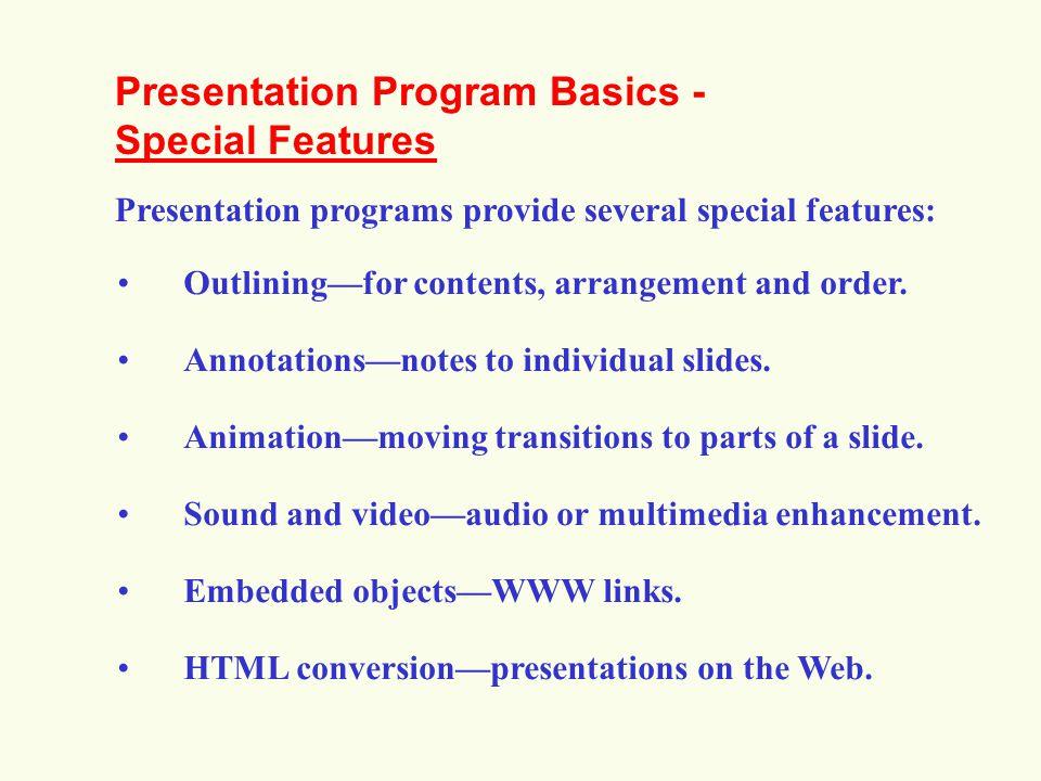 Presentation Program Basics - Special Features
