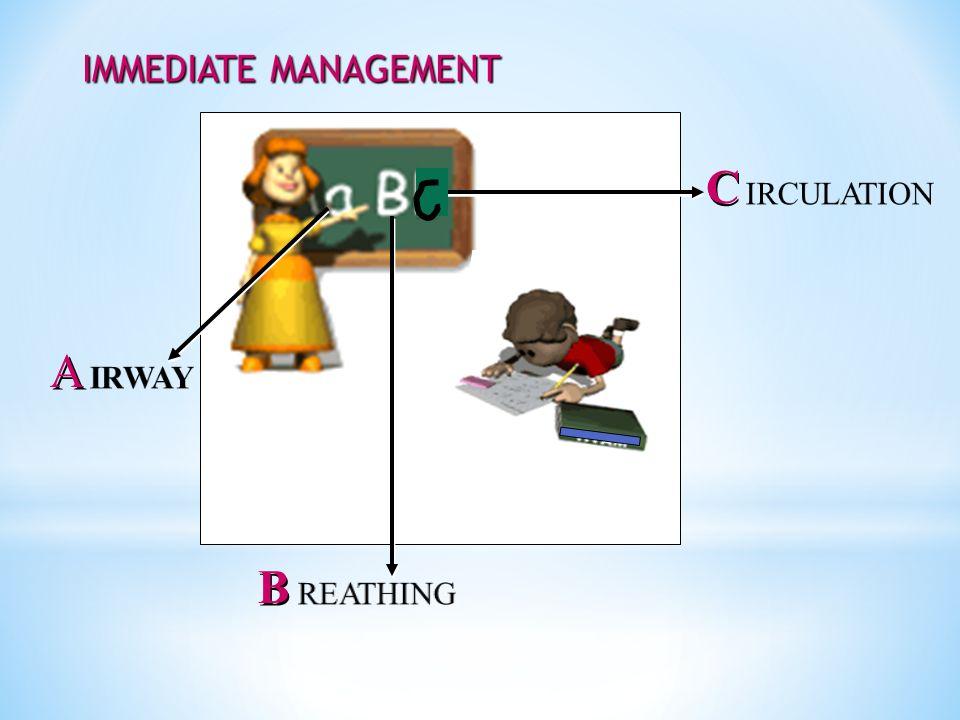 IMMEDIATE MANAGEMENT C IRCULATION A IRWAY B REATHING 37
