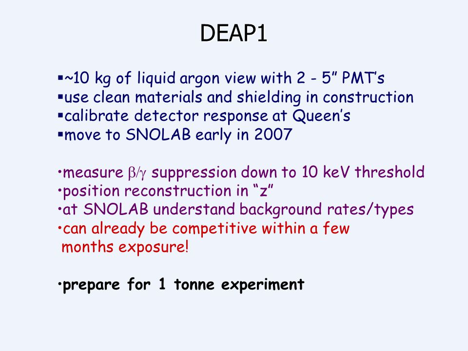 DEAP1 ~10 kg of liquid argon view with 2 - 5 PMT's