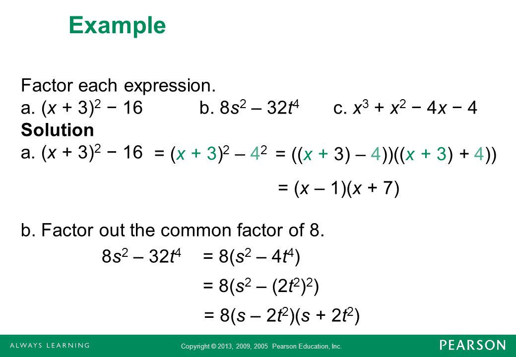 Example Factor each expression. a. (x + 3)2 − 16 b. 8s2 – 32t4 c. x3 + x2 − 4x − 4 Solution a. (x + 3)2 − 16 b. Factor out the common factor of 8.