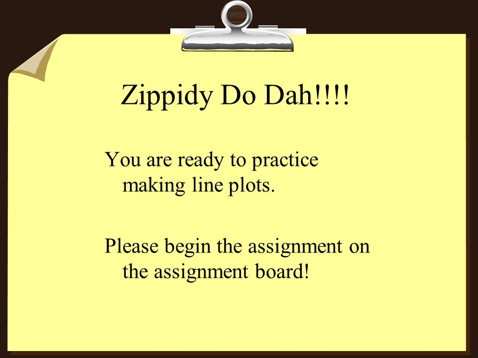 Zippidy Do Dah!!!! You are ready to practice making line plots.