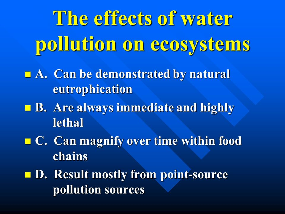 The effects of water pollution on ecosystems