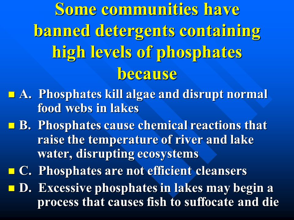 Some communities have banned detergents containing high levels of phosphates because