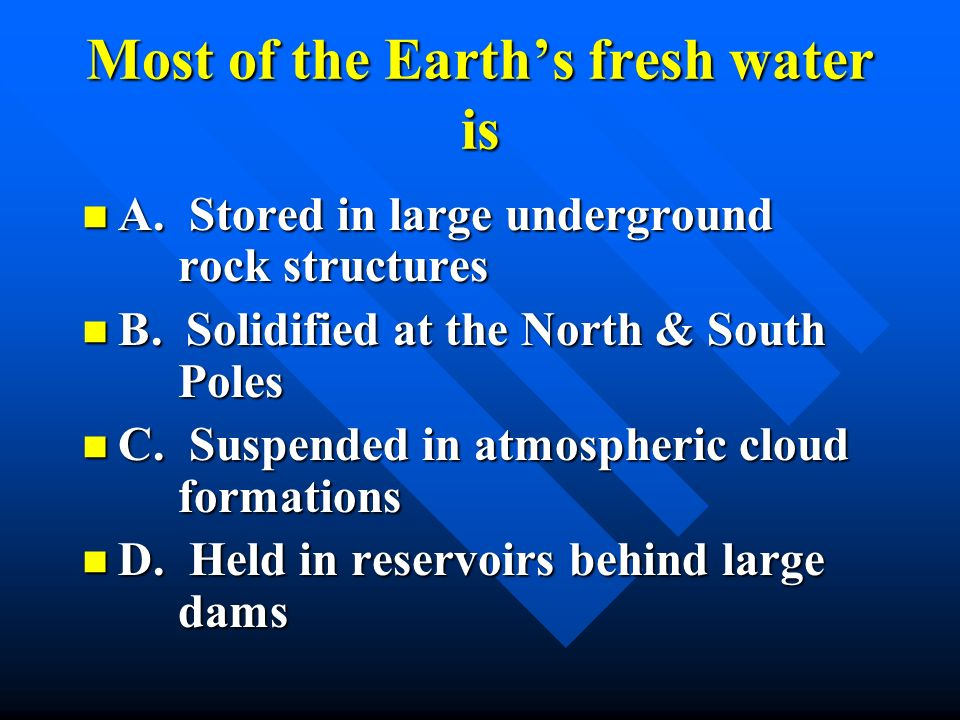 Most of the Earth's fresh water is