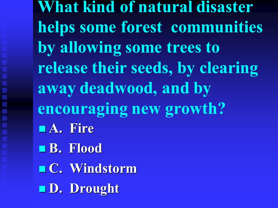 What kind of natural disaster helps some forest communities by allowing some trees to release their seeds, by clearing away deadwood, and by encouraging new growth