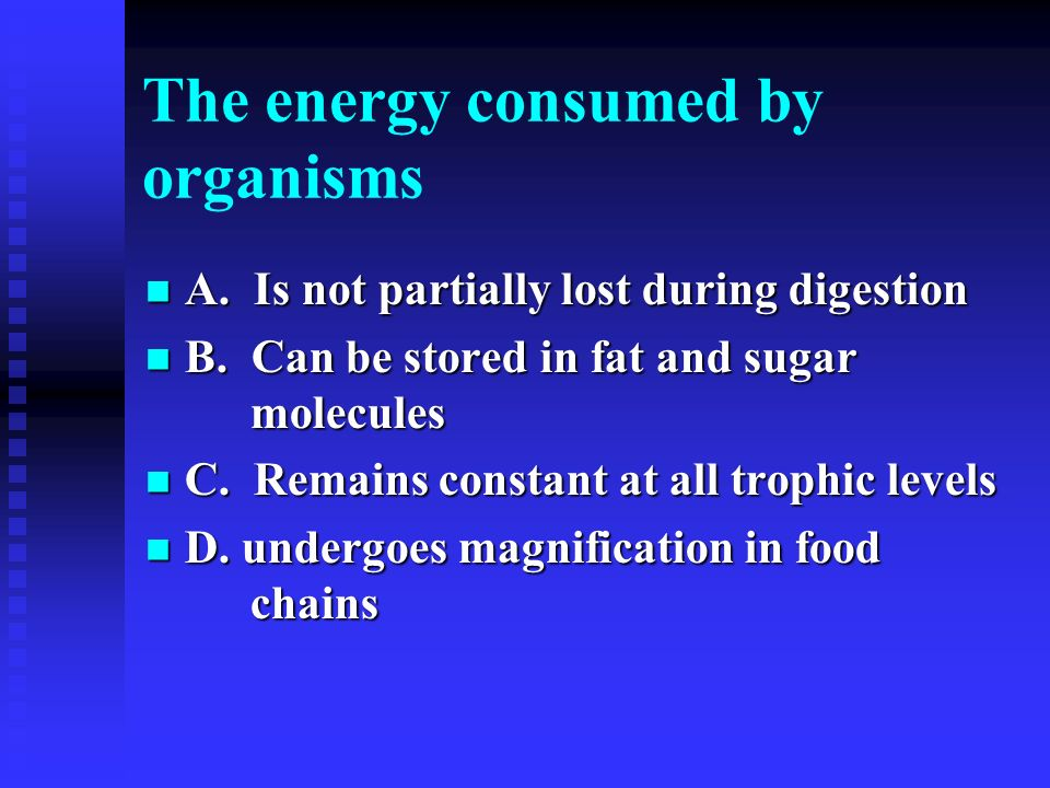 The energy consumed by organisms
