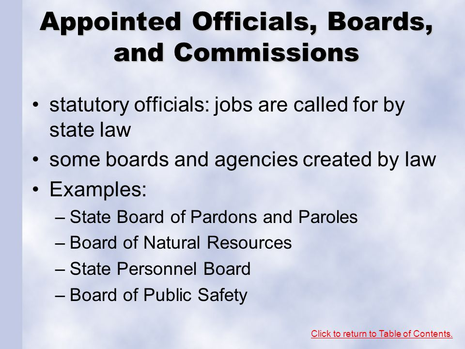 Appointed Officials, Boards, and Commissions
