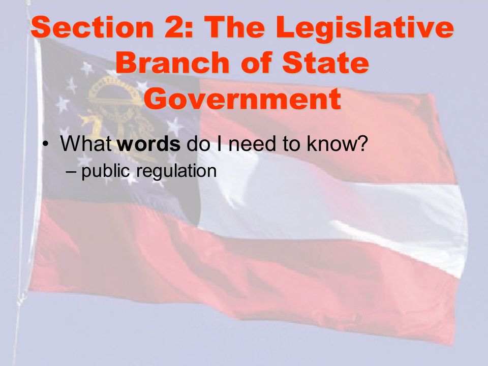 Section 2: The Legislative Branch of State Government