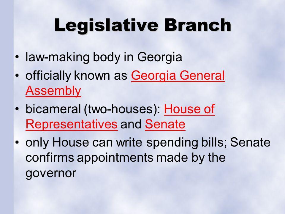Legislative Branch law-making body in Georgia