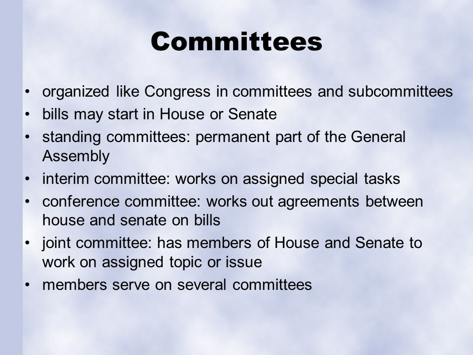 Committees organized like Congress in committees and subcommittees