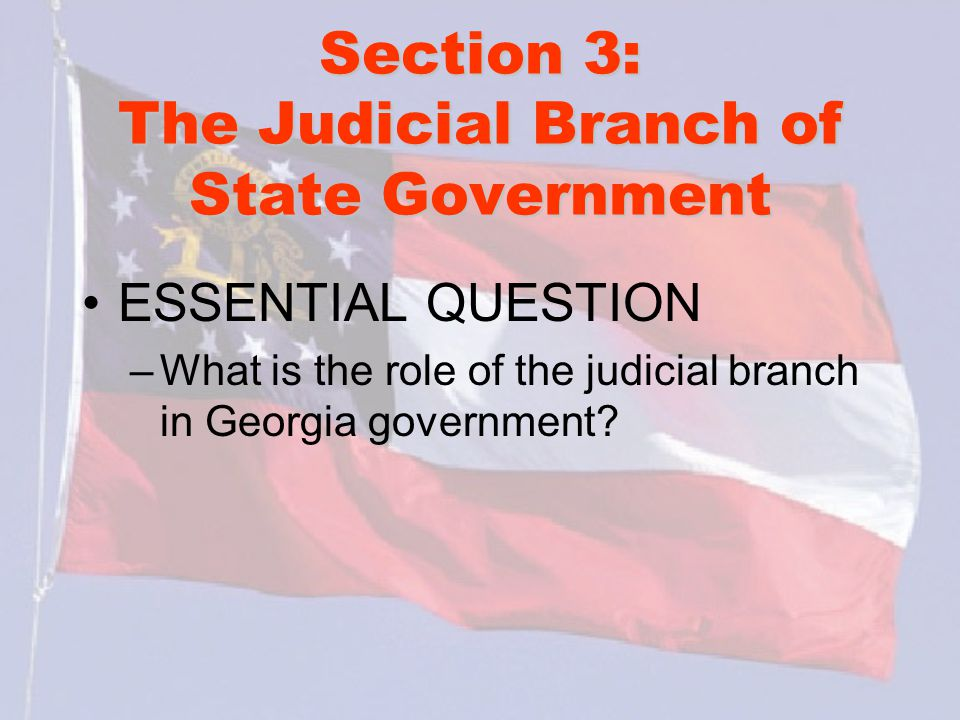 Section 3: The Judicial Branch of State Government