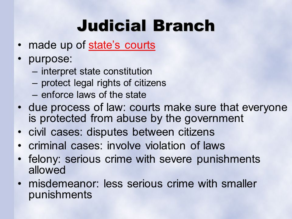 Judicial Branch made up of state's courts purpose: