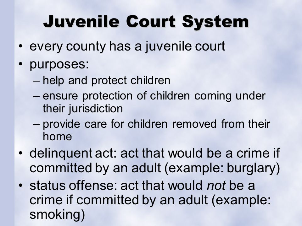 Juvenile Court System every county has a juvenile court purposes: