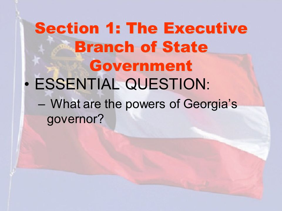 Section 1: The Executive Branch of State Government