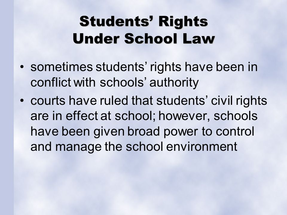 Students' Rights Under School Law