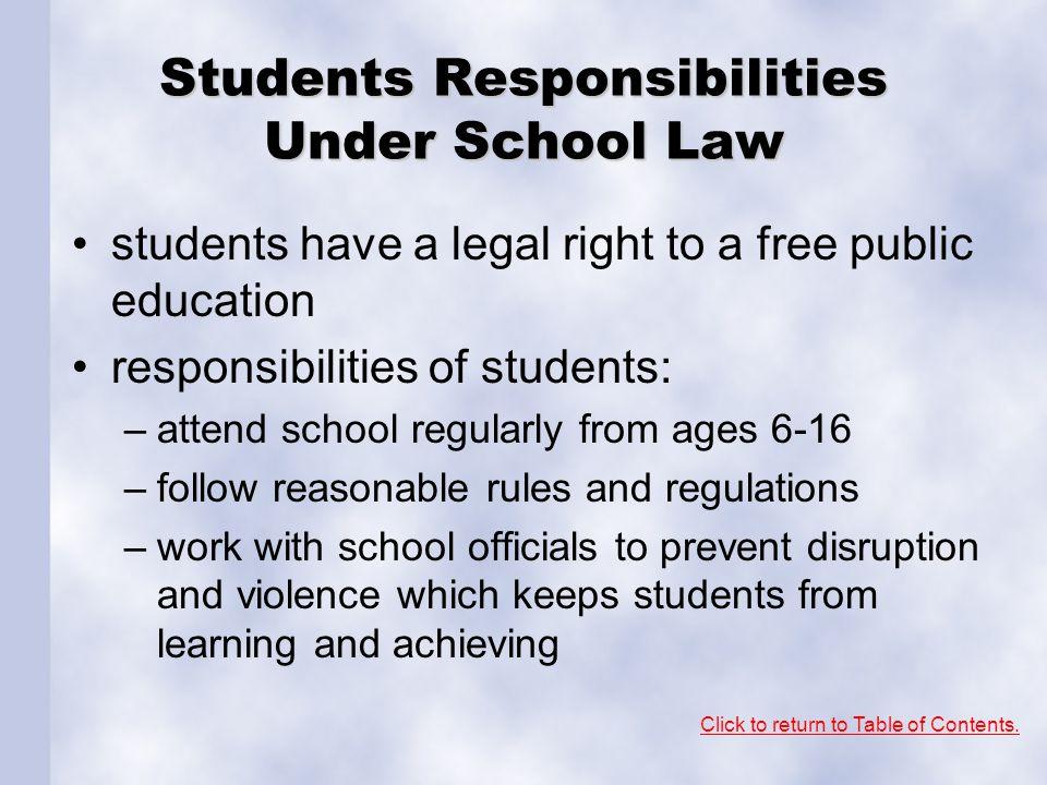 Students Responsibilities Under School Law