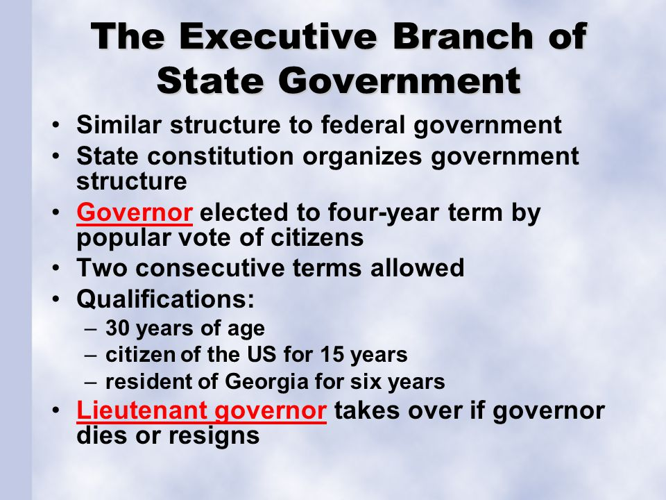 The Executive Branch of State Government