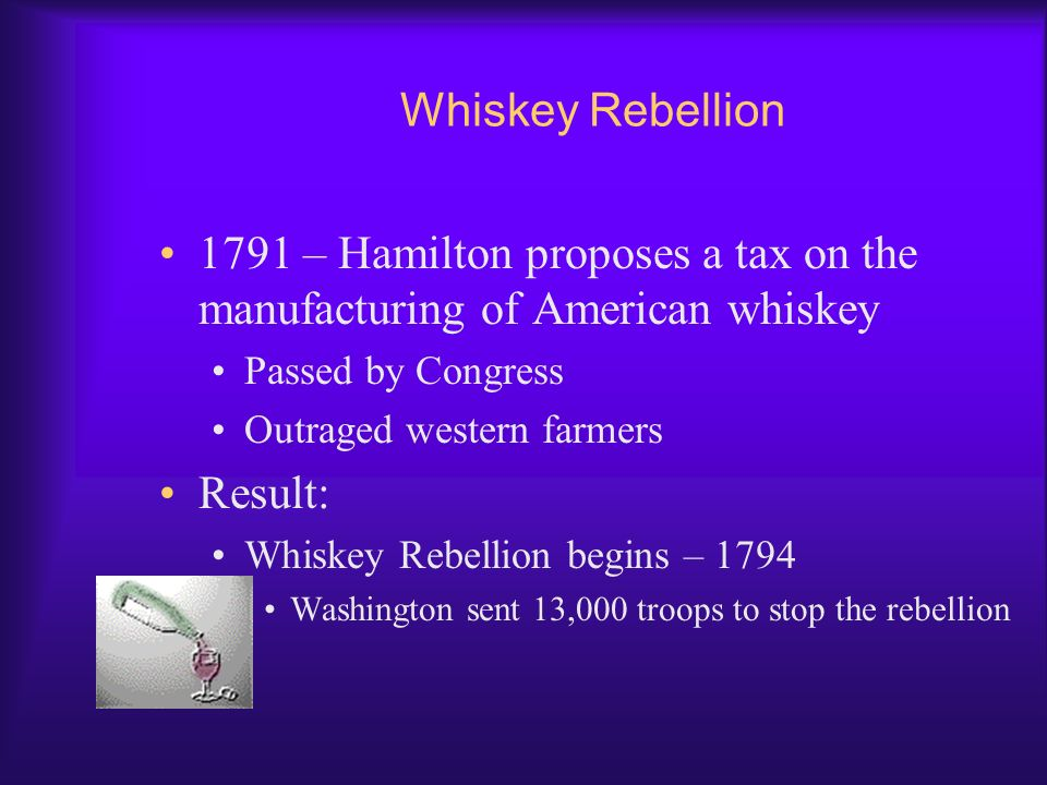 Whiskey Rebellion 1791 – Hamilton proposes a tax on the manufacturing of American whiskey. Passed by Congress.