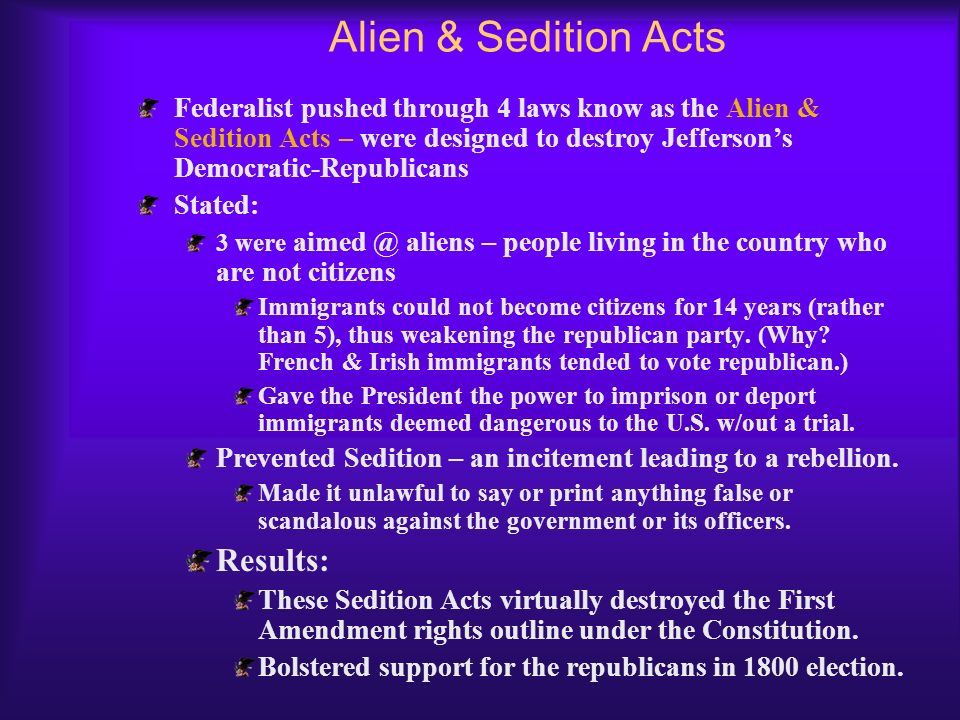 Alien & Sedition Acts Results: