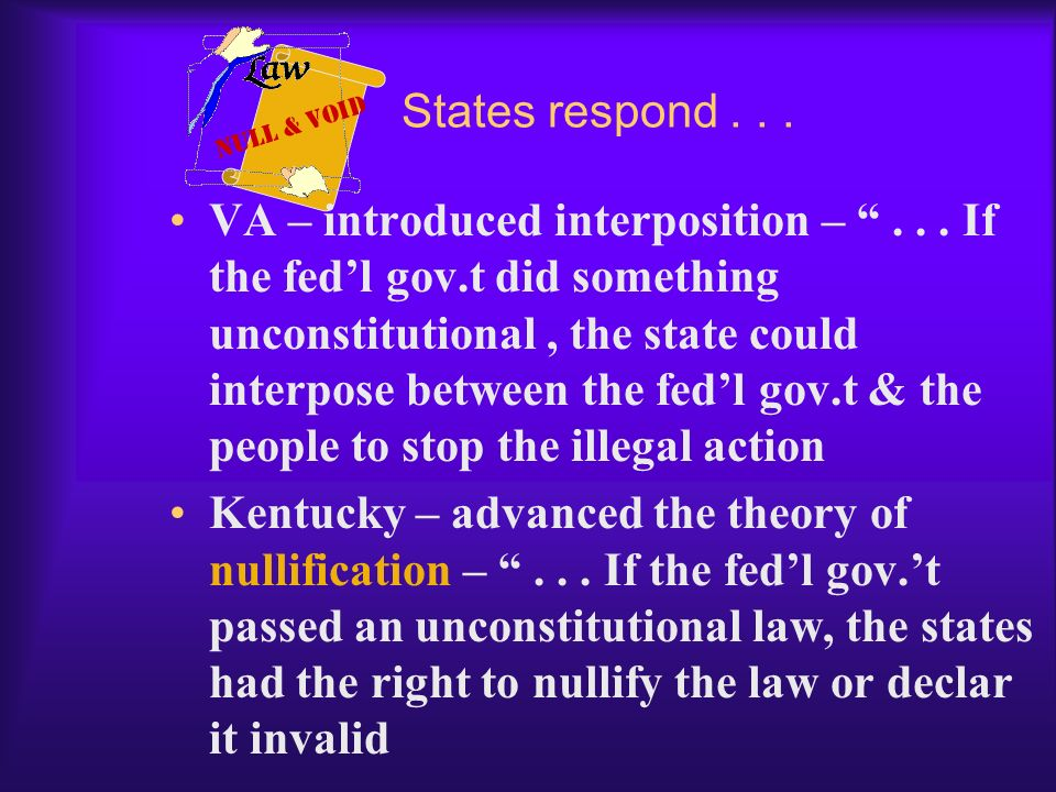 States respond . . . Null & Void.
