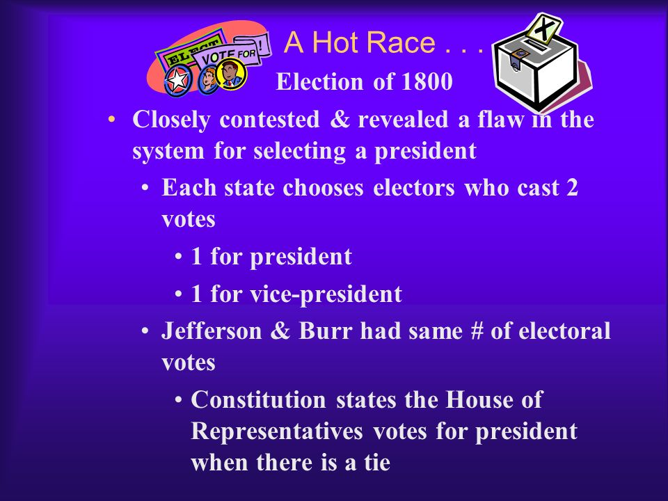 A Hot Race . . . Election of 1800. Closely contested & revealed a flaw in the system for selecting a president.