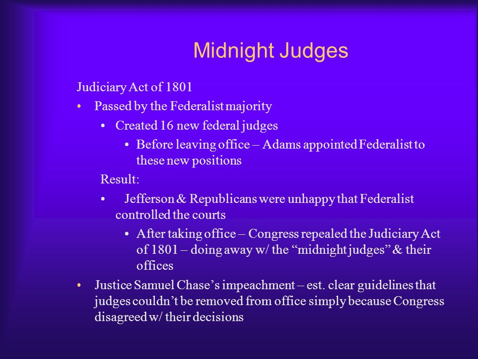Midnight Judges Judiciary Act of 1801