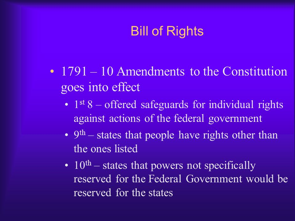 1791 – 10 Amendments to the Constitution goes into effect