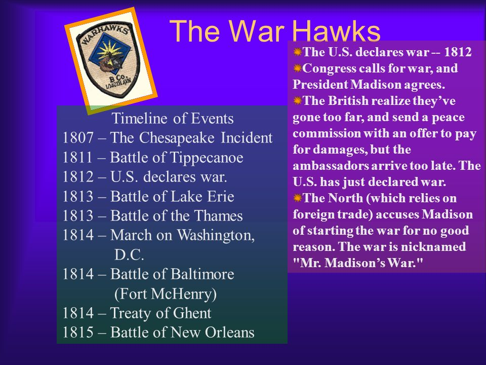 The War Hawks Timeline of Events 1807 – The Chesapeake Incident