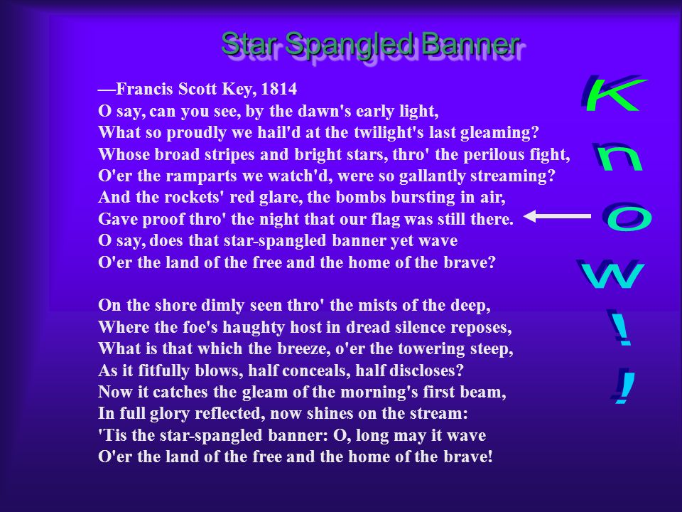 Know!! Star Spangled Banner —Francis Scott Key, 1814