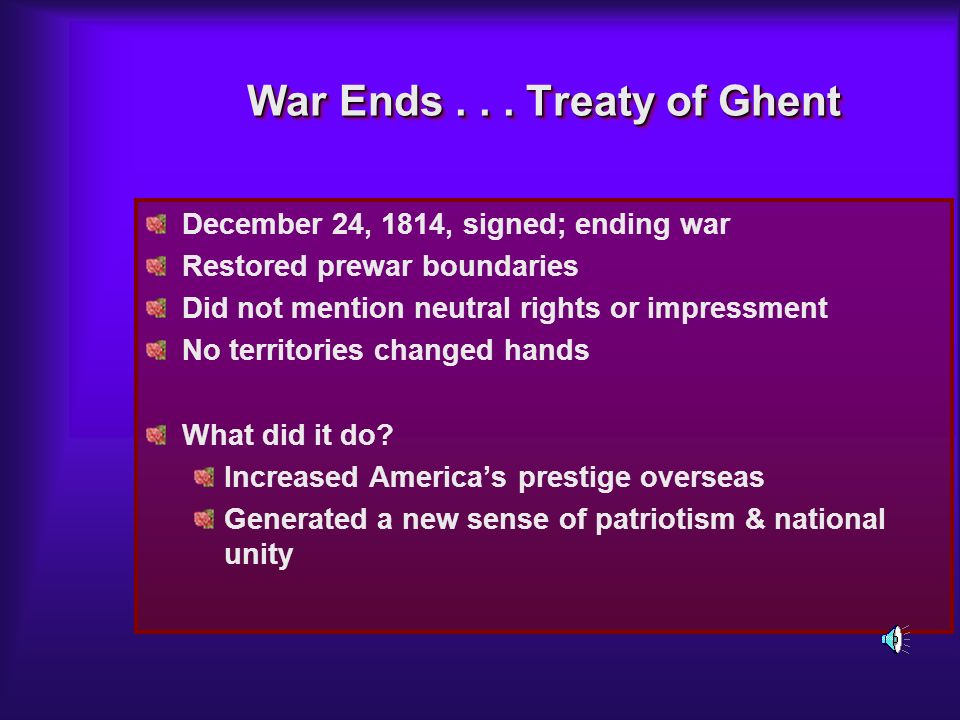 War Ends Treaty of Ghent