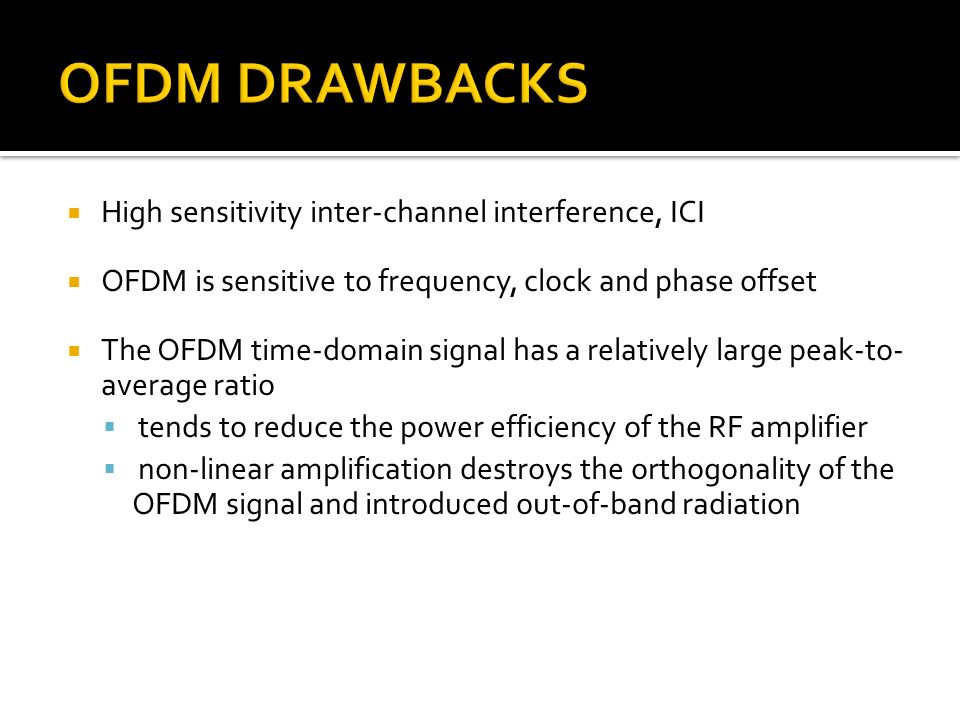 OFDM DRAWBACKS High sensitivity inter-channel interference, ICI