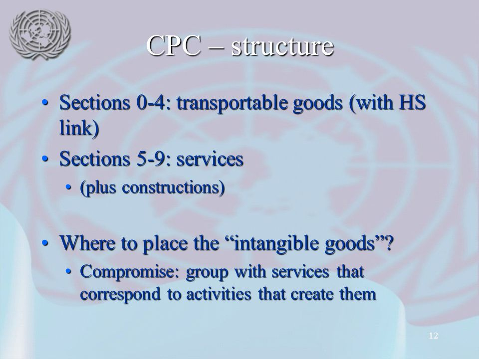 CPC – structure Sections 0-4: transportable goods (with HS link)