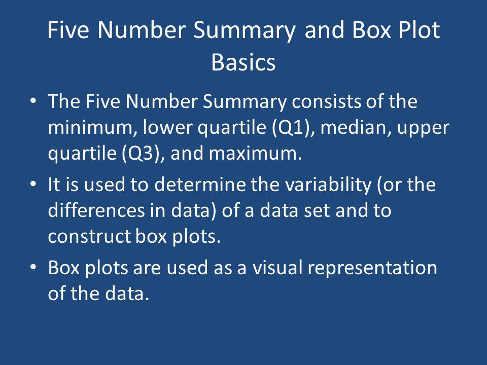 Five Number Summary and Box Plot Basics