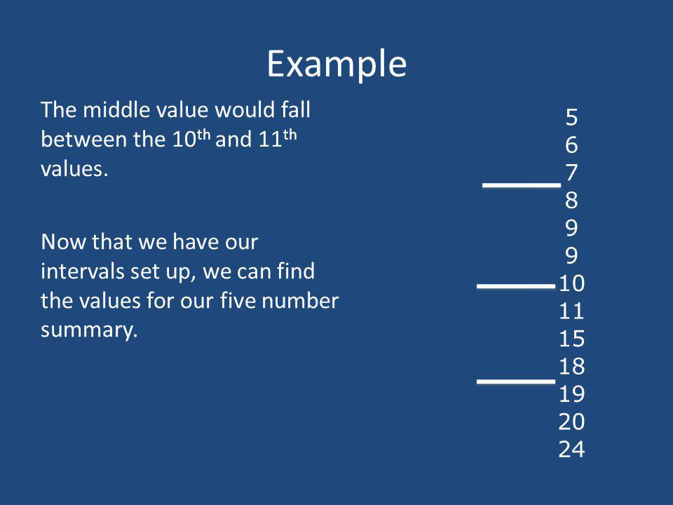 Example The middle value would fall between the 10th and 11th values.