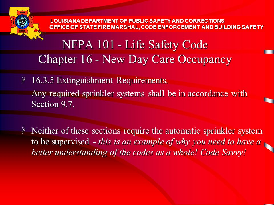 NFPA 101 - Life Safety Code Chapter 16 - New Day Care Occupancy